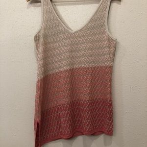 WHBM Peach Gold Ombre'  Double V-Neck Tank